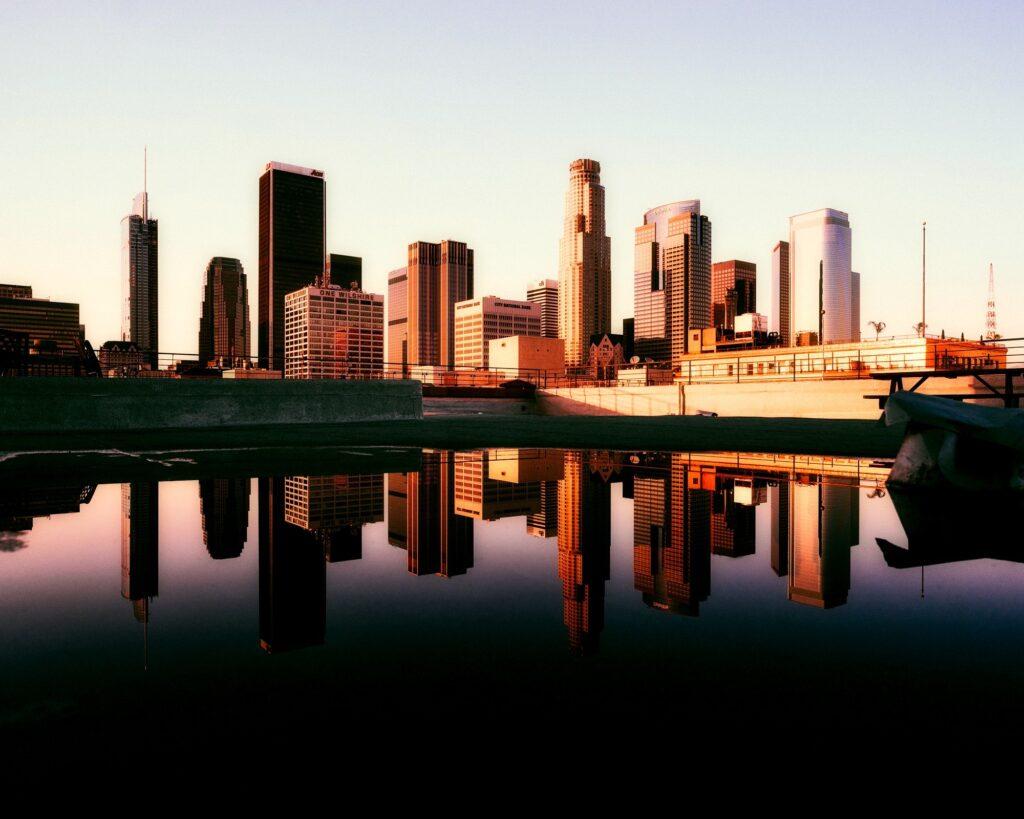 los Angeles buildings shadow in water
