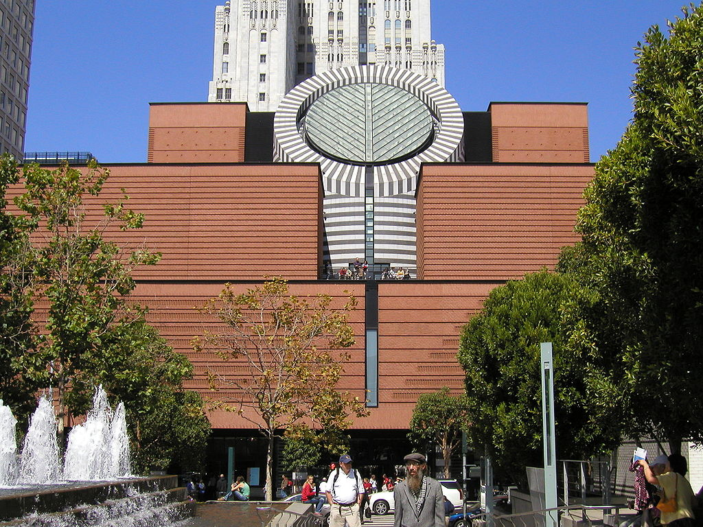 Outside view of San Francisco Museum of Modern Art with Public roaming around