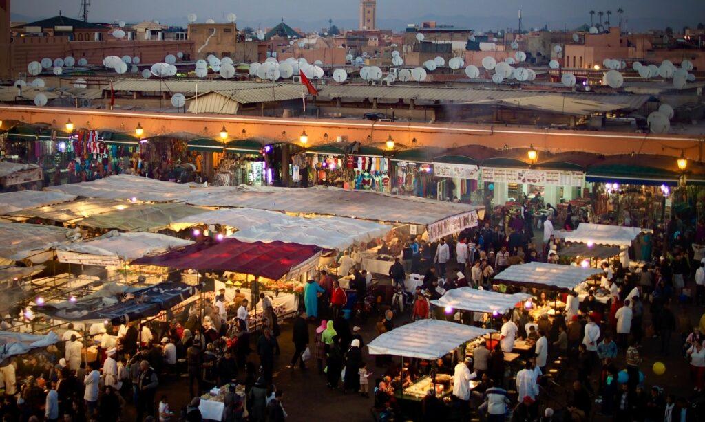 A Market full of people enjoying the bazaar