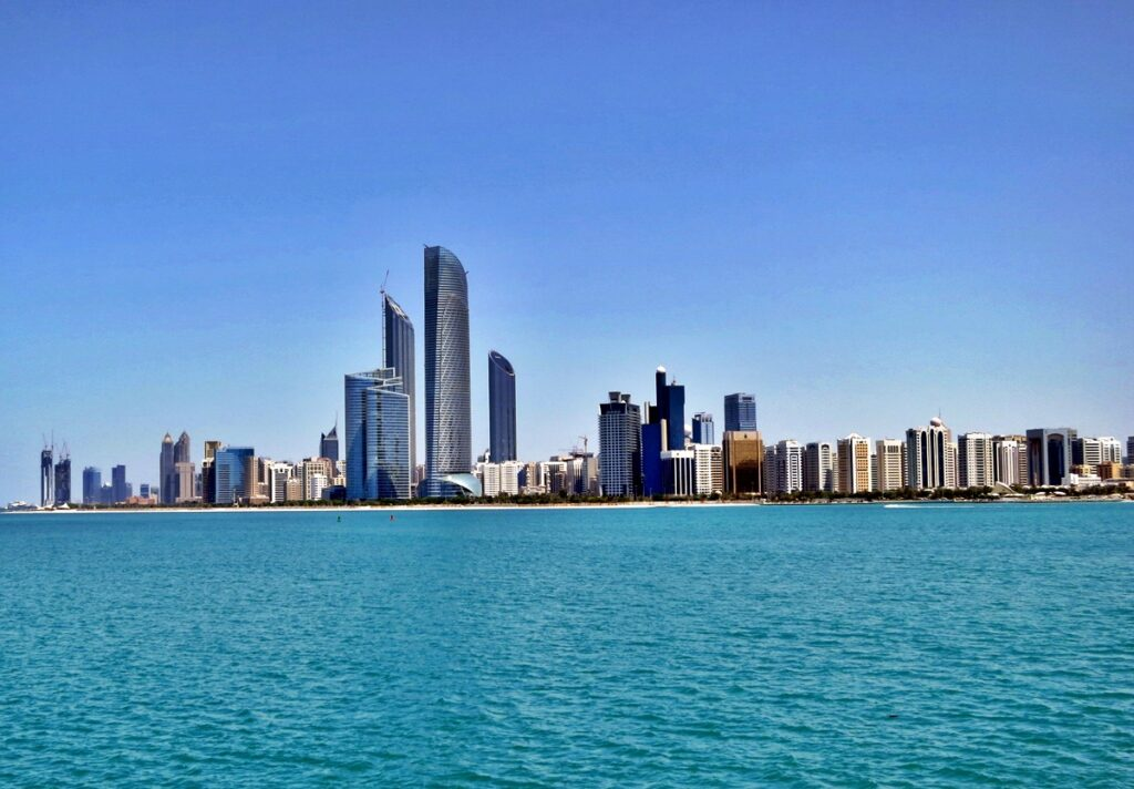 Building shots from ocean view in Abu Dhabi, United Arab Emirates