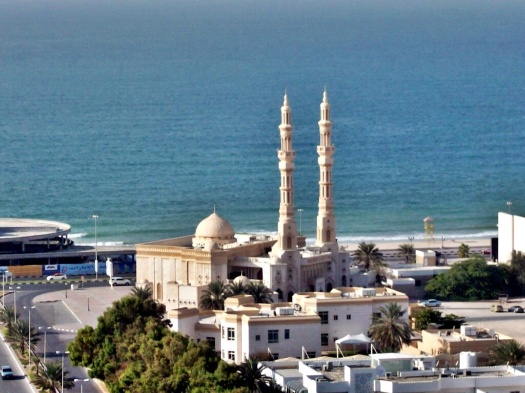 Mosque in Corniche area of Ajman, United Arab Emirates