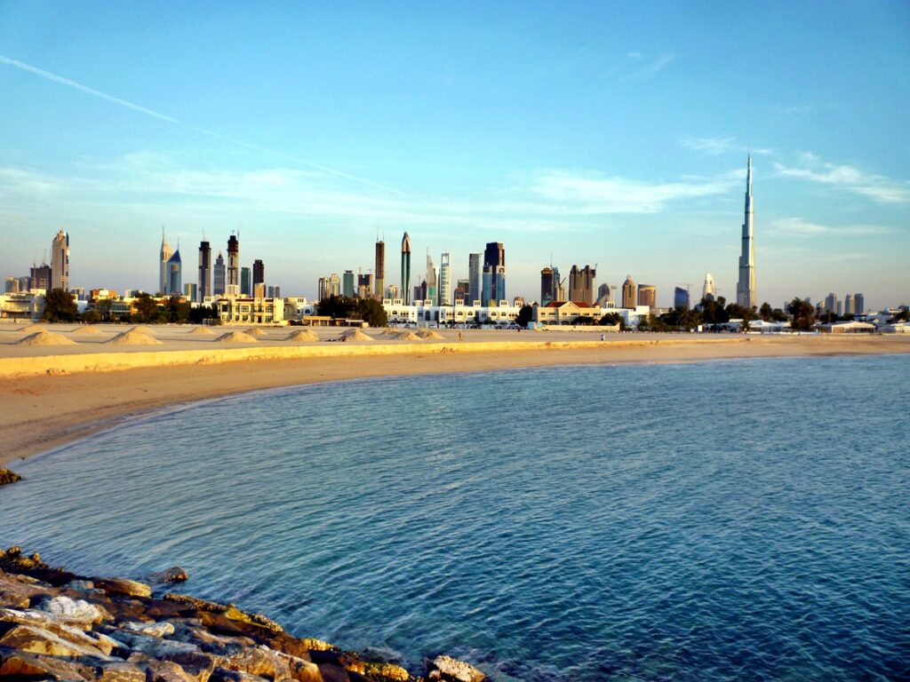 Building shots and the iconic Burj Khalifa shot from shore in Dubai, United Arab Emirates