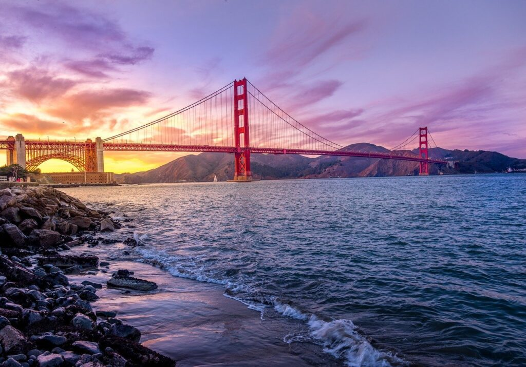 Golden Gate Bridge view camera shot from seashore