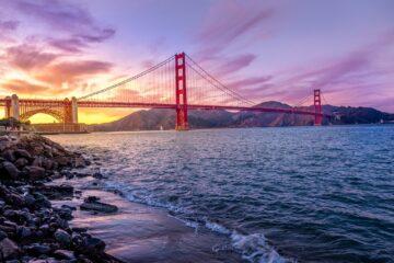 suspension bridge view from sea shore