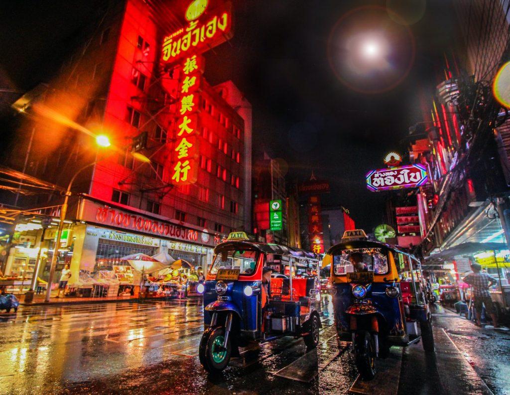 Tuktuk shot in Public road of Bangkok Thailand during night