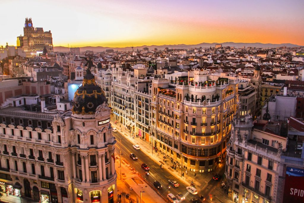 Buildings in Barcelona during sunset