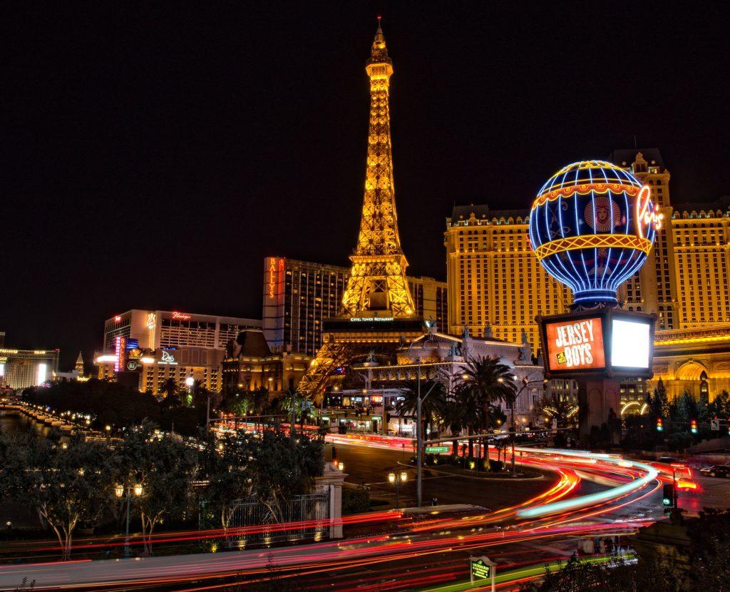 Eifel Tower shot during nightlife in Las Vegas Nevada