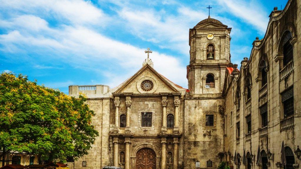 Outside shot of 16th-century edifice San Augustine Church in Manila