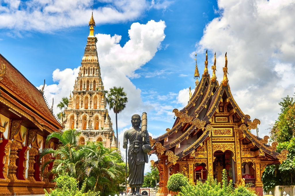 The famous golden pagodas in Thailand