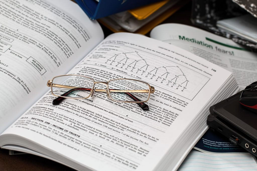 A reading glasses on top of the book