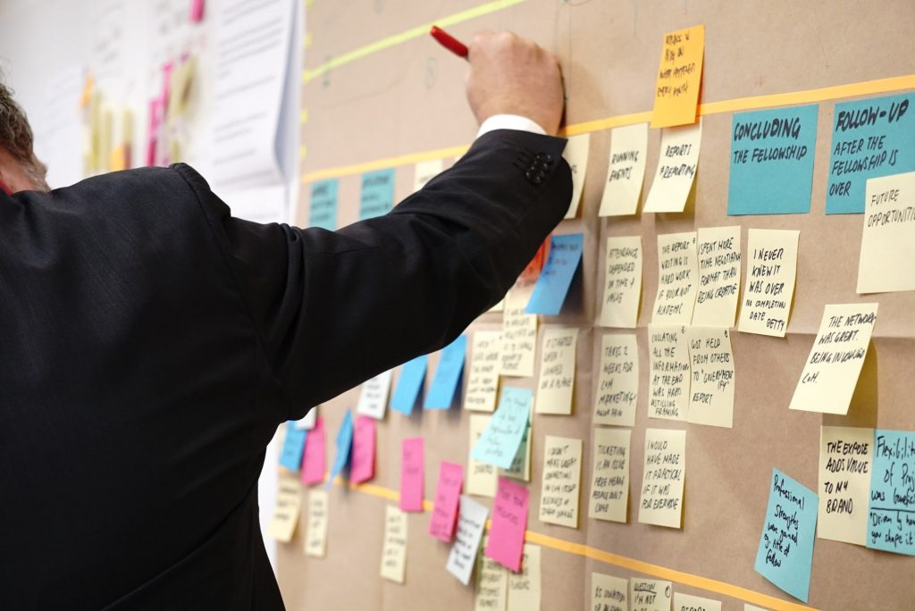 A man wearing tuxedo writing on the wall during presentation with post it cards surrounding it