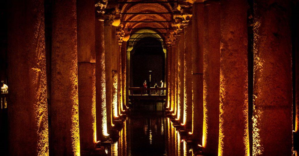 Shot of inside the Basilica Cistern