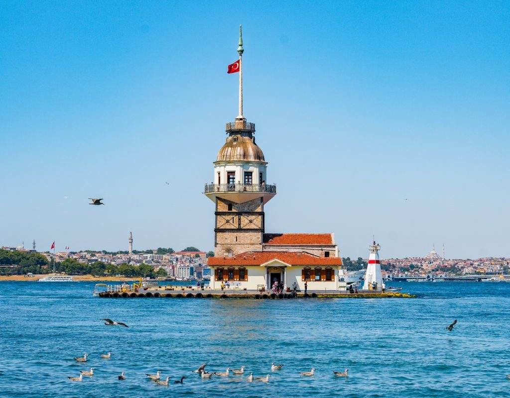 Ariel view of dome with Turkey flag in the middle of sea with birds flying and enjoying the water.