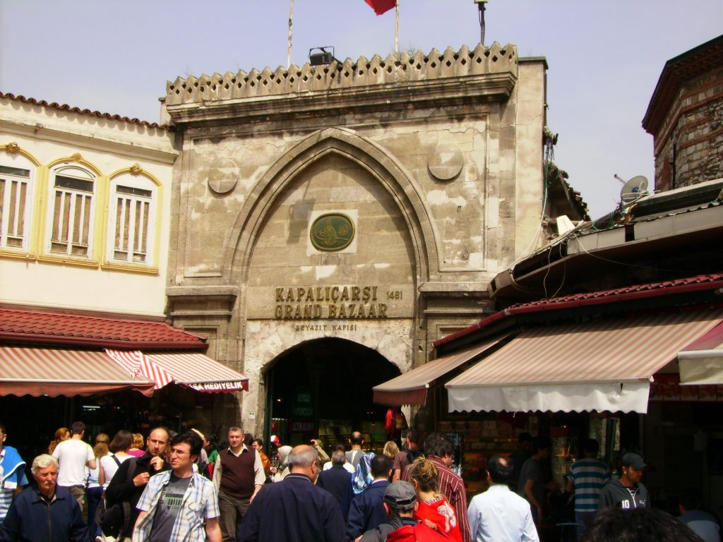 Grand Bazaar shot with people looking in the bazaar for shopping or grocery.
