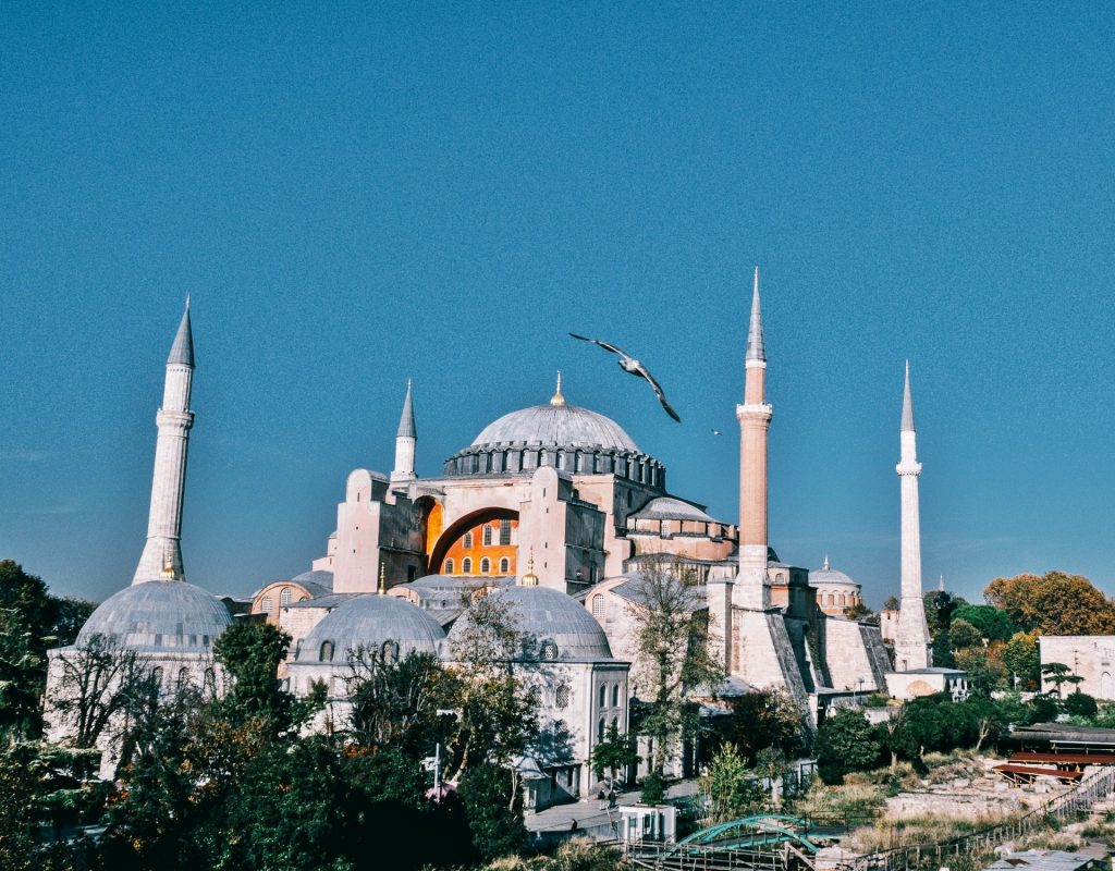 Majestic mosques with high tower and bird flying