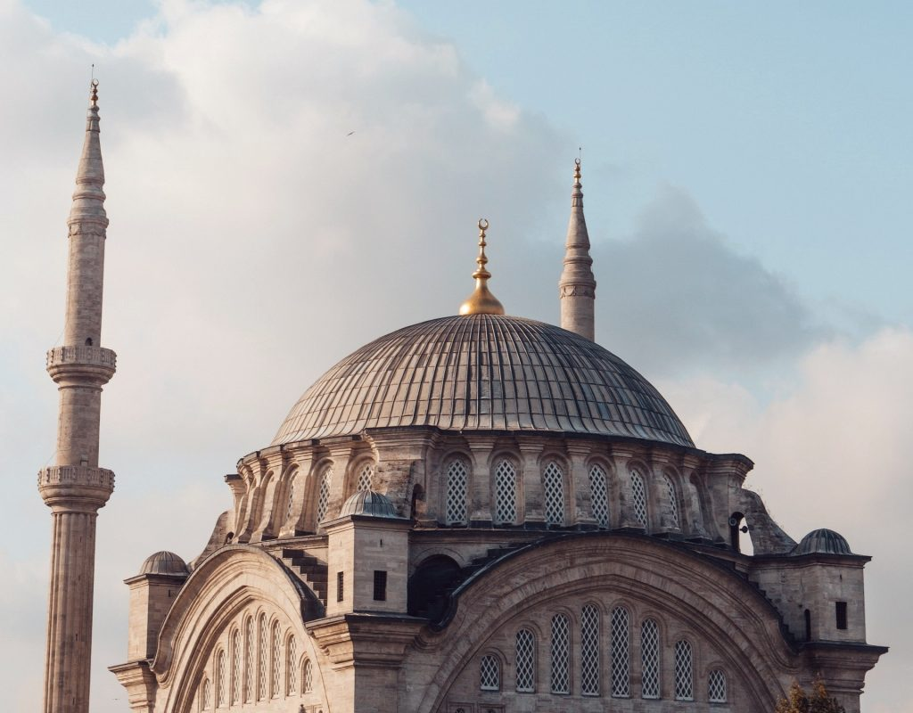 A beautiful dome shot from outside, aerial view