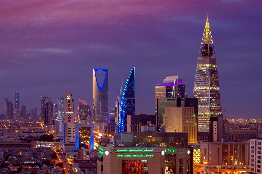 Beautiful shot of Riyadh city nigh lights