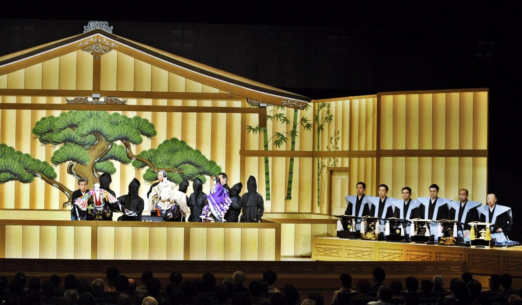 Actors wearing traditional Japanese clothes to do live action play on the Theatre.