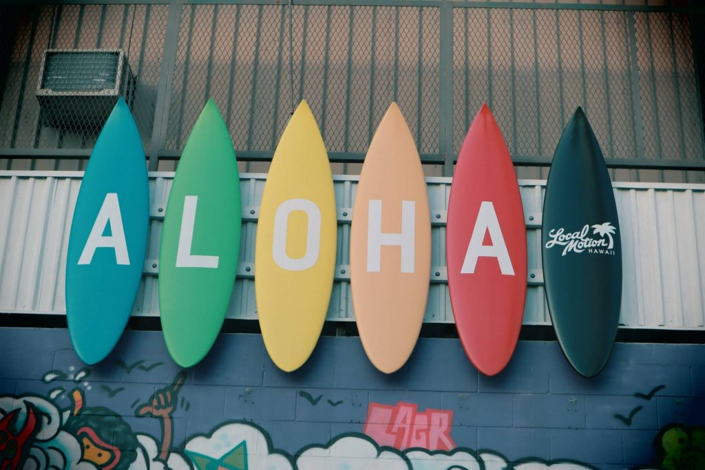 Surfboards with letters ALOHA