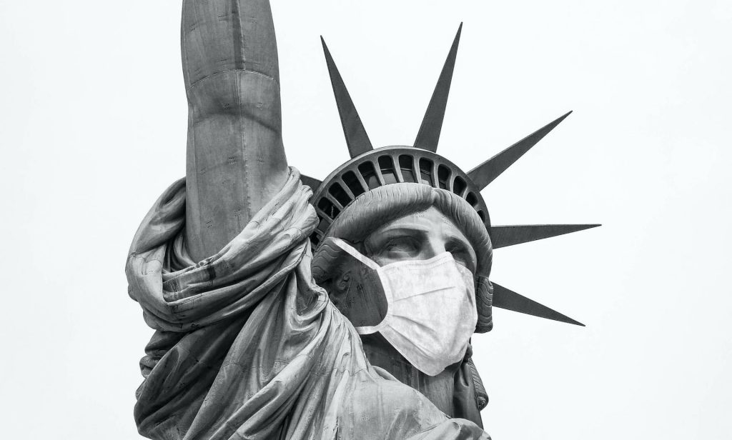 Statue of Liberty with mask