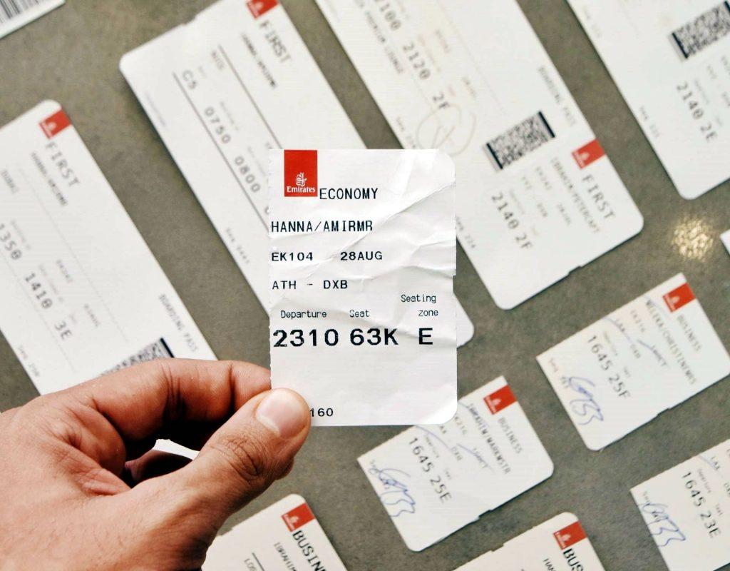 Economy ticket of Emirates flight to Dubai